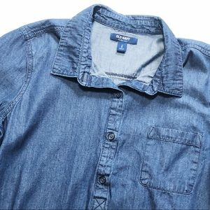 Old Navy Denim Chambray 3/4 Sleeve Button Down